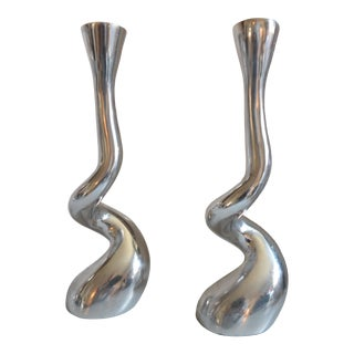 Post Modern Textura Aluminum Squiggle Spiral Twist Candle Holders - a Pair For Sale