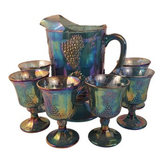 Harvest Grape Blue Carnival Glass Pitcher & Glasses - Set of 7 For Sale