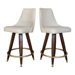 1960's Mid-Century Modern Counter Stools in Maharam - A Pair For Sale
