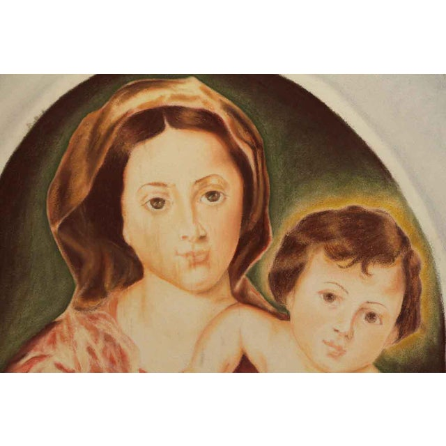"""Neoclassical """"Madonna & Child"""" Painting on Sheet Rock For Sale - Image 3 of 9"""
