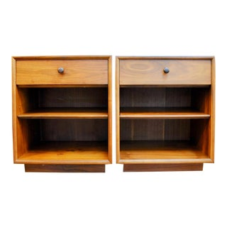 Pair of Mid Century Modern Walnut Nightstands by Kipp Stewart for Drexel Declaration For Sale