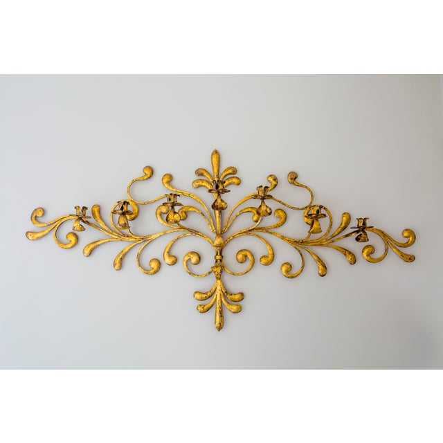 Antique Italian Ornate Gold Candleabra For Sale - Image 4 of 4
