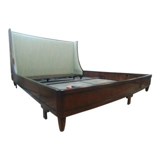 Henredon Furniture Barbara Barry Graceful Walnut Upholstered King Platform/Low Profile Bed For Sale