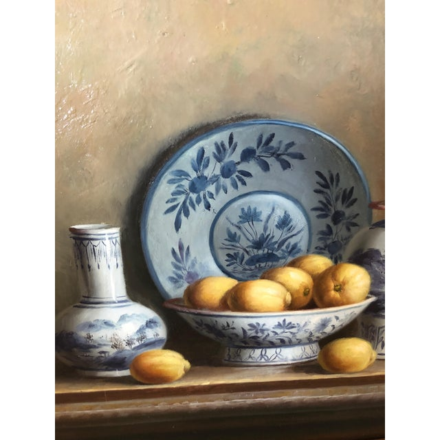 Asian Realistic Blue and White Chinese Export Still Life Painting For Sale - Image 3 of 11