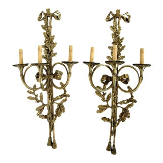 1930s Vintage Solid Brass Three-Arm Trumpet Form Wall Sconces- A Pair For Sale