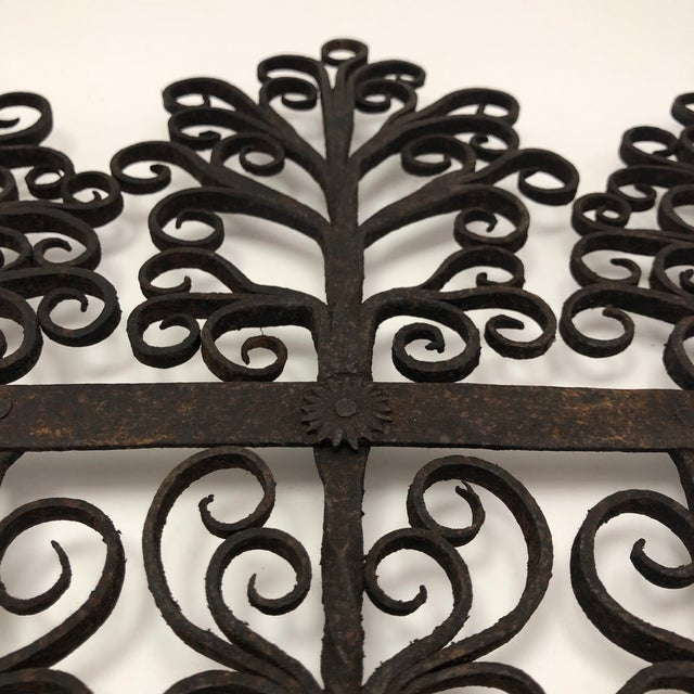 Black Antique Hand Forged Wrought Iron Utensils Rack, Forks and Spatula For Sale - Image 8 of 13