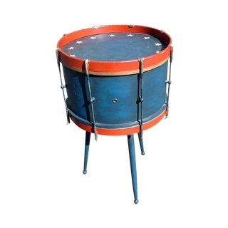 Custom Centennial Blue Drum Table For Sale