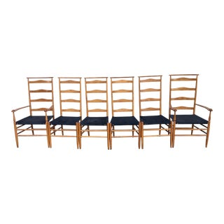 1960s Vintage Nichols and Stone Tall Ladder Back Chairs - Set of 6 For Sale
