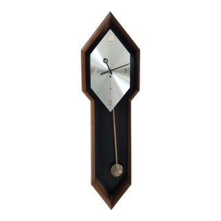 Vintage Arthur Umanoff Howard Miller Walnut Pendulum Clock For Sale