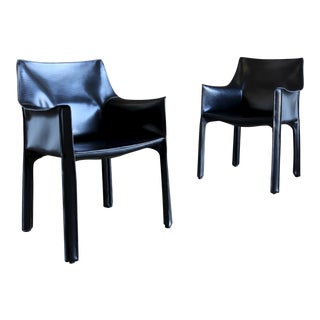"""1980s Mario Bellini for Cassina Black Leather """"Cab"""" Chairs - a Pair For Sale"""