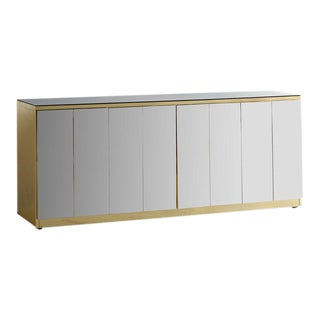 Brass and Bronzed Mirror Credenza by Ello For Sale