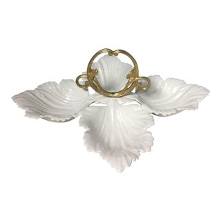 Vintage White With Gold Handle California Pottery Mp #404 White Leaf Candy/Nut Dish For Sale