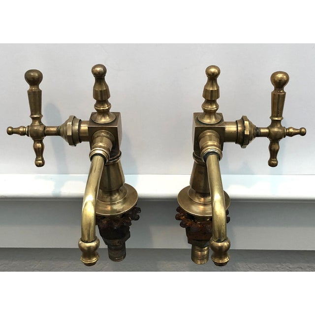 Antique French Brass Faucet Fixtures, Pair - Image 10 of 11
