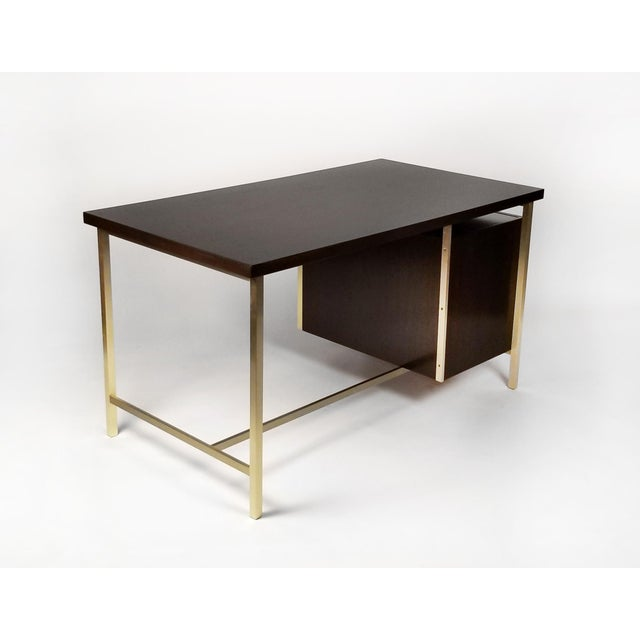 Paul McCobb Paul McCobb Brass & Mahogany Desk for the Connoisseur Collection H. Sacks & Sons For Sale - Image 4 of 11