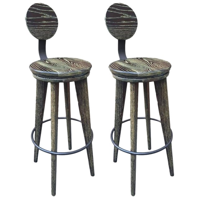 Pair of Modern Cerused Oak Stools For Sale