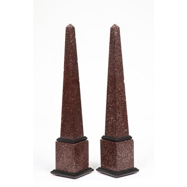 1900 - 1909 Fine Pair of Italian Grand Tour Egyptian Porphyry Obelisks For Sale - Image 5 of 13
