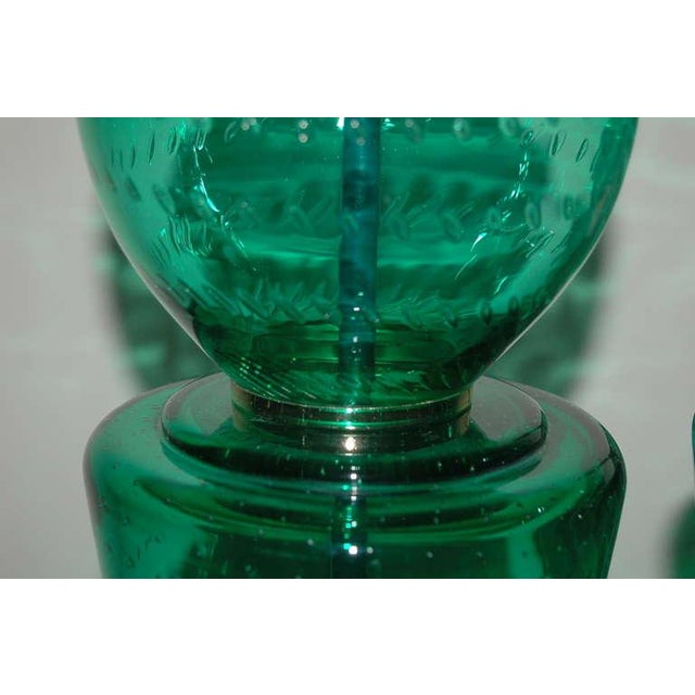 1950s Vintage Murano Glass Table Lamps Green For Sale - Image 5 of 10