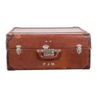 Monogrammed Medium Leather Luggage C.1940 For Sale