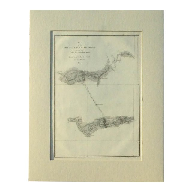 Santiago, Chili Uspullata & Portillo Passes, 1855 Map For Sale