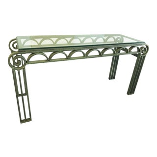 Neoclassical Iron Scroll Console Table in a Verdigris Finish For Sale