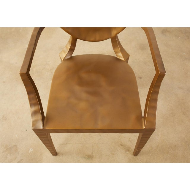 Early 21st Century Daphne Bronzed Hammered Iron Louis XVI Style Armchair For Sale - Image 5 of 13