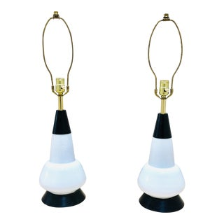 1960s Mid-Century Modern Milk Glass and Metal Lamps - a Pair For Sale