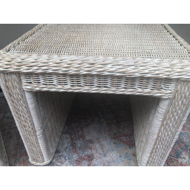 Vintage Wicker End Tables - a Pair For Sale In Savannah - Image 6 of 11