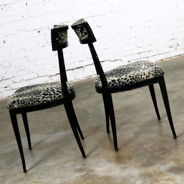 Art Deco Pair Black Art Deco and Animal Print Side Chairs Cast Aluminum by Crucible Products For Sale - Image 3 of 13
