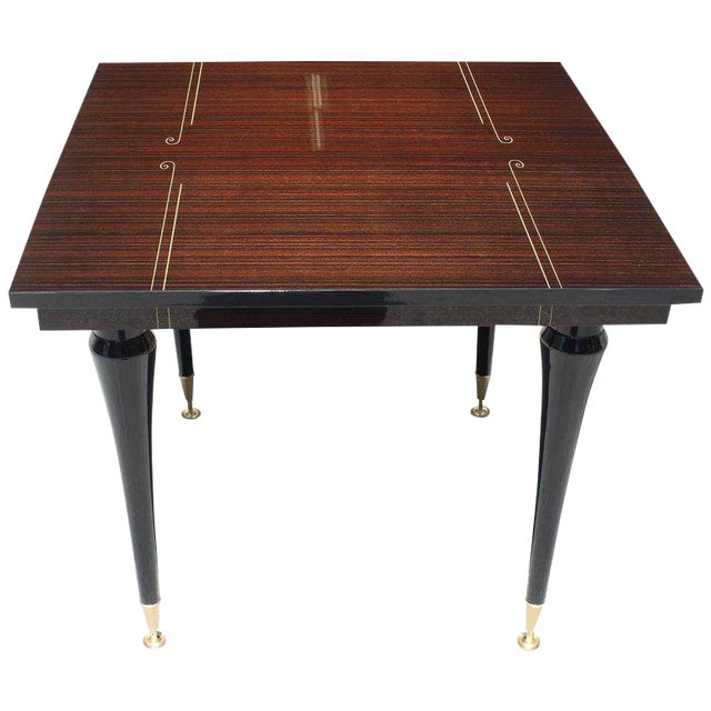 1940s Art Deco Exotic Macassar Ebony Square Center Table For Sale