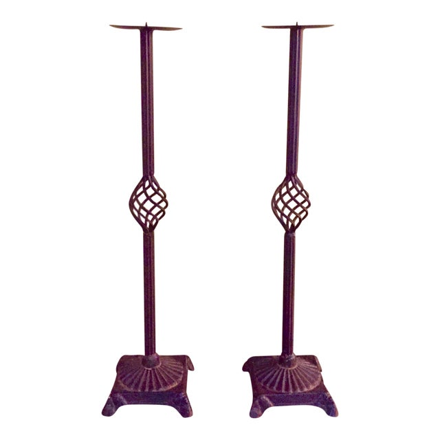 Iron Pricket Candlesticks - A Pair - Image 1 of 6
