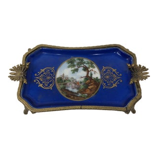 French Hand Painted Porcelain Trinket Dish For Sale