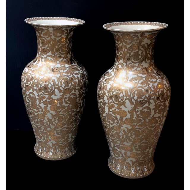 A Massive and Well-Executed Pair of Chinese Palace Vases With Gilt Floral Vine Decoration For Sale In San Francisco - Image 6 of 6