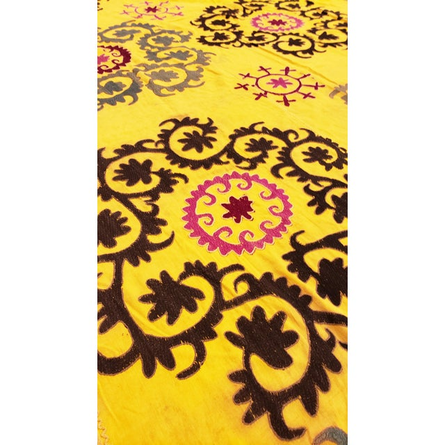 Silk Late 20th Century Suzani Textile Rug - 6′2″ × 8′2″ For Sale - Image 7 of 9