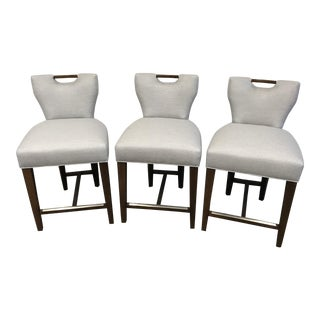 Grey Upholstered Counter Stools - Set of 3