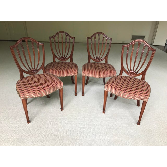 Brown Hepplewhite Mahogany Shield Back Dining Chairs - Set of 4 For Sale - Image 8 of 9