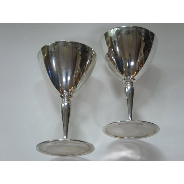 Traditional Vintage Tiffany & Company Sterling Silver Wine Goblets - a Pair For Sale - Image 3 of 6