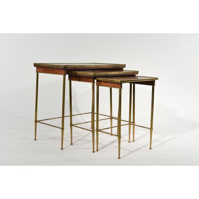 Brass Brass & Wood Nesting Tables - Set of 3 For Sale - Image 7 of 7