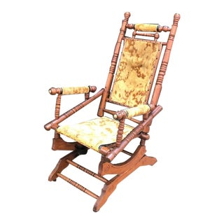 Antique Carved Wood Rocking Chair Glider For Sale
