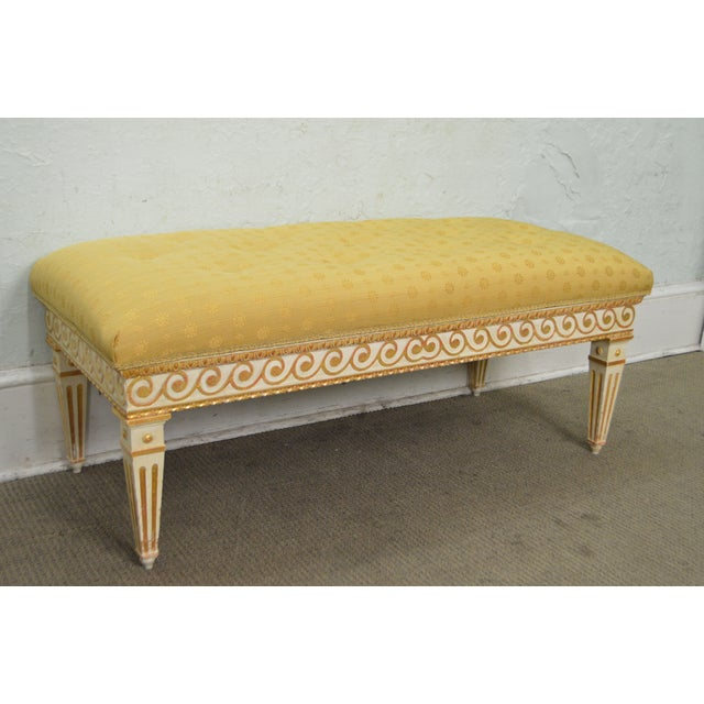 Vintage Regency Style Gilt Painted Wood Tufted Window Bench For Sale - Image 10 of 10