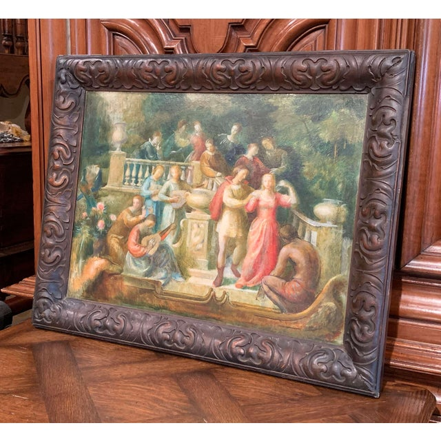 Cardboard 19th Century Spanish Serenade Painting on Board in Original Carved Frame For Sale - Image 7 of 9