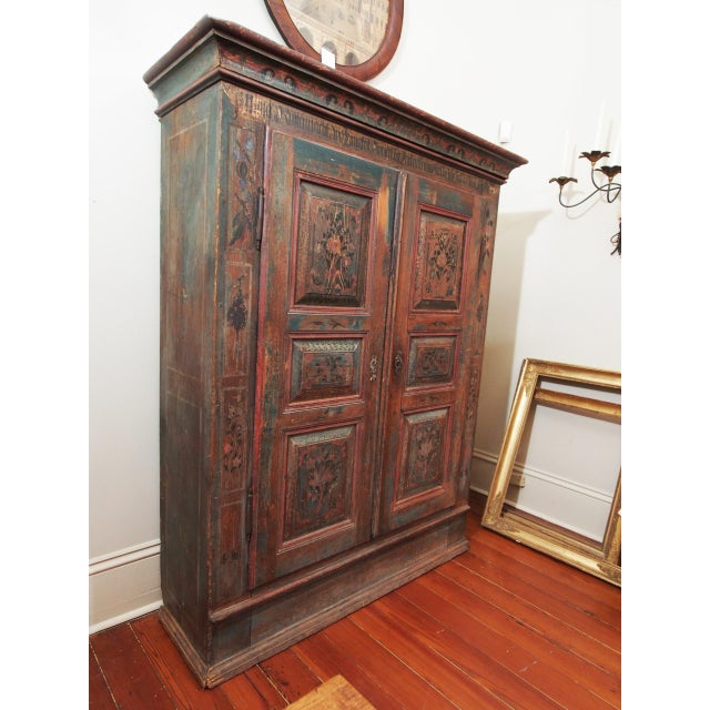 Louis XVI A PAINTED EUROPEAN ARMOIRE For Sale - Image 3 of 11