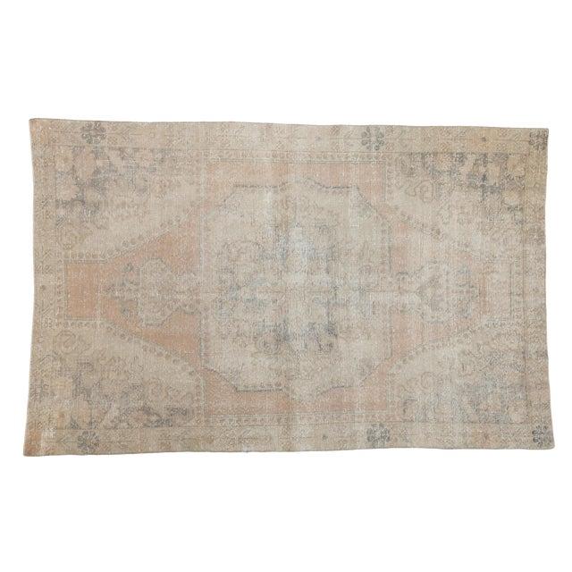"""Vintage Distressed Oushak Rug - 4'4"""" X 6'9"""" For Sale"""