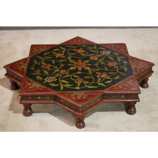 1920s Indian Painted Wooden Low Coffee Table For Sale In Los Angeles - Image 6 of 6