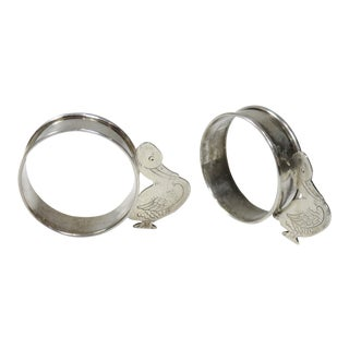 Vintage Childs Sterling Silver Napkin Rings - a Pair For Sale