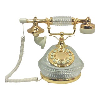Hollywood Regency Gold Plated Crystal French Style Telephone