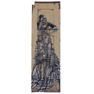 "Swoon ""Girl From the Rangoon Provence"" Wheat Paste on Found Object For Sale"