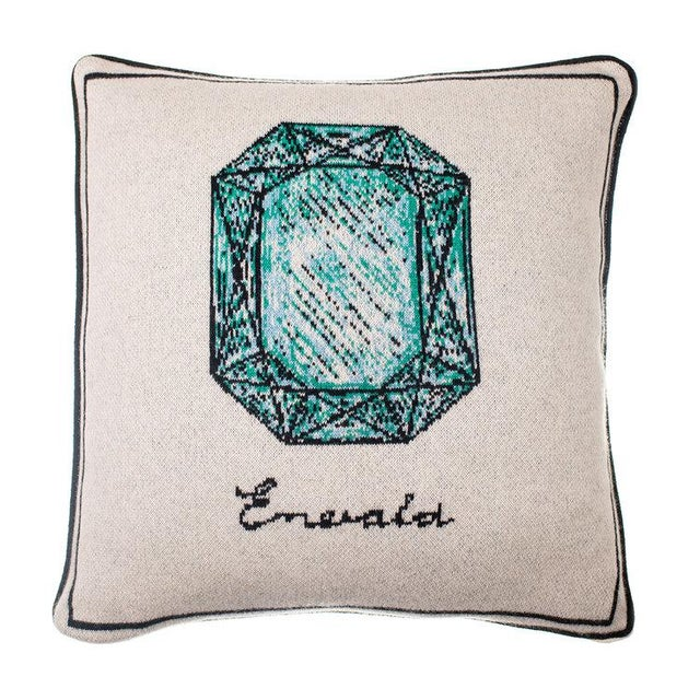 Contemporary Fee Greening - Emerald Cashmere Pillow For Sale - Image 3 of 3