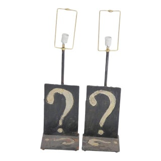 Paul Evans Style Wrought Iron Question Mark Table Lamps - a Pair