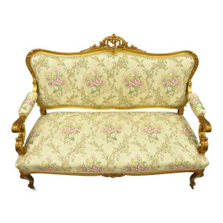1920s Vintage French Louis XV Style Gold Gilt Settee For Sale