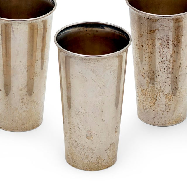"""Set of 6 sterling silver tumblers or mint julep cups marked Sterling on the bottom They measure 5"""" high, top is 3"""" in..."""